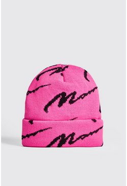 Mens Neon-pink Neon MAN All Over Knit Beanie