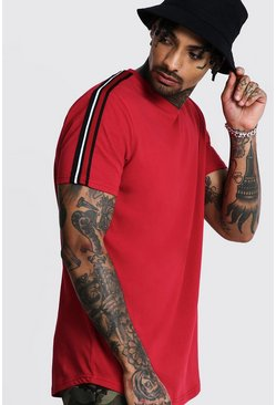Mens Red Jersey Football Tee With Shoulder Taping