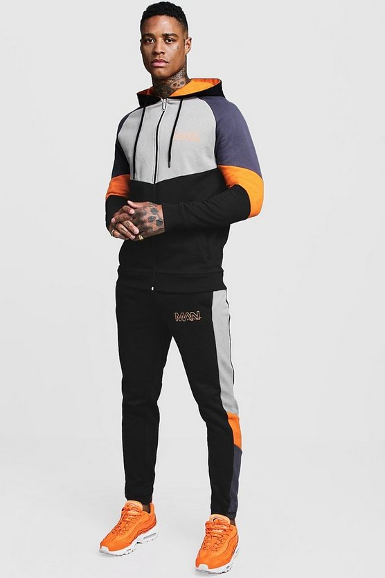 Mens Orange Colour Block MAN Branded Zip Through Tracksuit