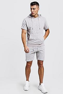 Short Sleeve Sweater Side Tape Short Tracksuit
