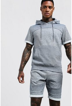 Mens Navy Short Sleeve Hooded Short Tracksuit