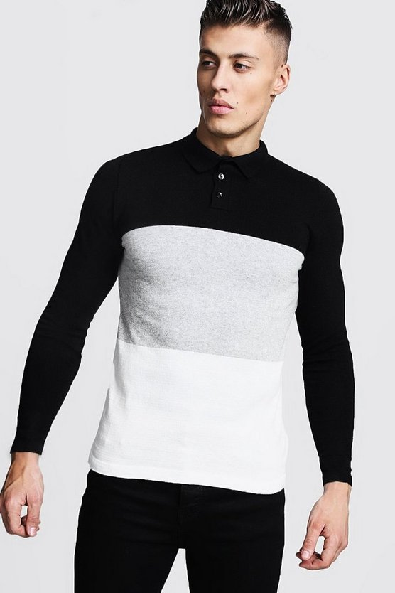 Black Long Sleeve Knitted Colour Block Polo