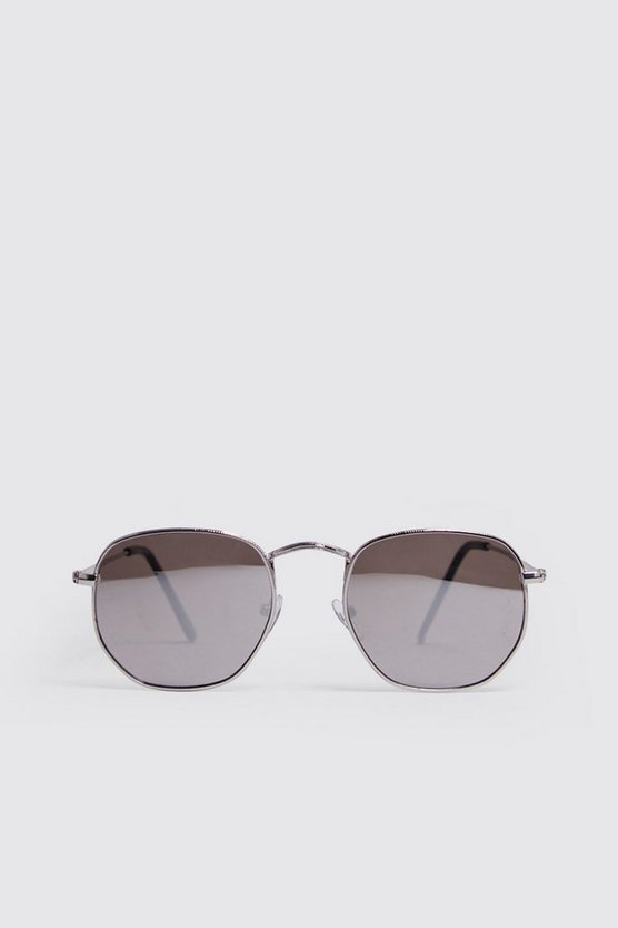 Mens Silver Rounded Hexagon Frame Sunglasses