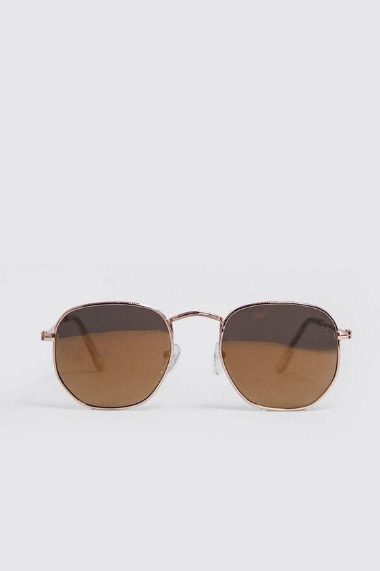 Mens Gold Rounded Hexagon Frame Sunglasses