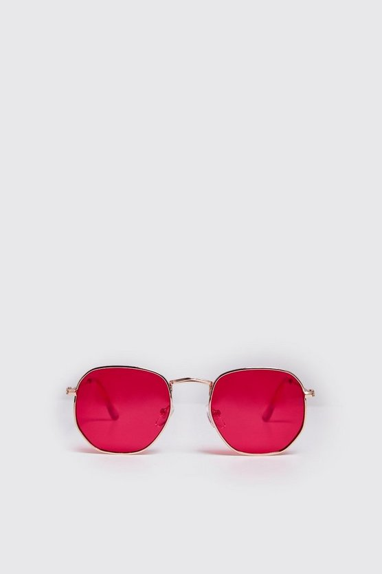 Mens Red Rounded Hexagon Frame Sunglasses