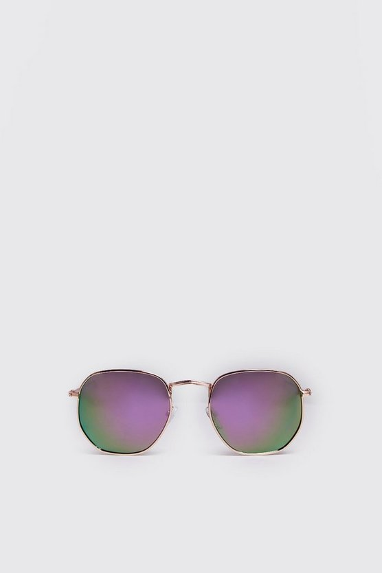 Mens Purple Rounded Hexagon Frame Sunglasses