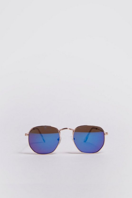 Mens Blue Rounded Hexagon Frame Sunglasses
