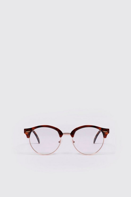 Mens Tortoise Frame Clear Lens Retro Glasses