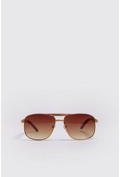 Mens Gold Vintage Look Arm Detail Sunglasses