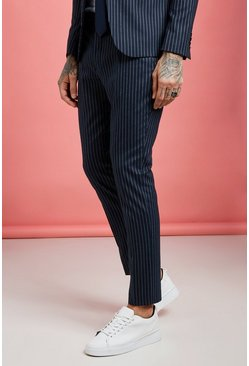 Mens Navy Wide Stripe Skinny Fit Suit Pants