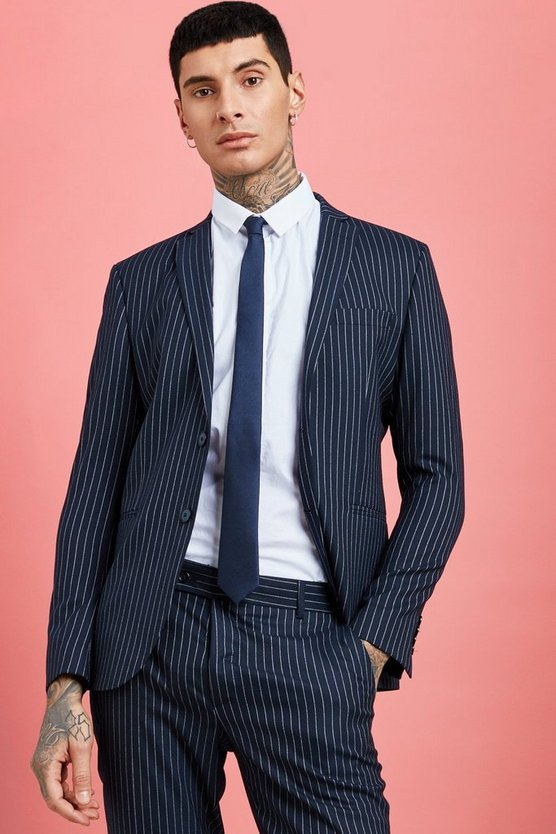 Mens Navy Wide Stripe Skinny Fit Suit Jacket
