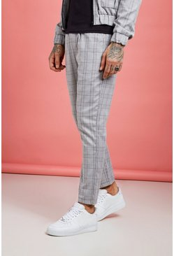 Mens Grey Check Detail Smart Cargo Jogger Trouser