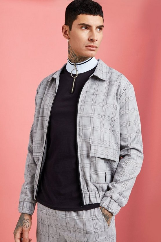 Mens Grey Check Detail Utility Harrington Jacket