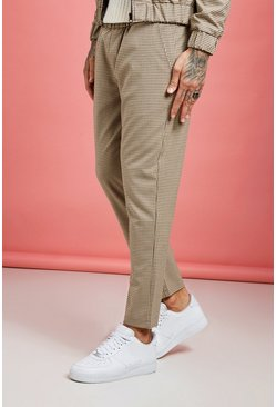Mens Brown Heritage Gingham Smart Jogger Trouser