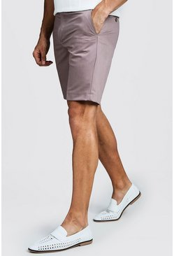Mens Brown Plain Smart Pin Tuck Tailored Shorts