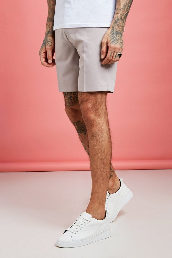 Mens Taupe Plain Smart Pin Tuck Tailored Shorts