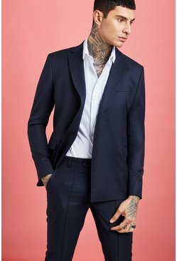Mens Navy Minimal One Button Suit Jacket