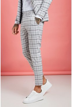 Grey Pastel Check Detail Skinny Cropped Pants