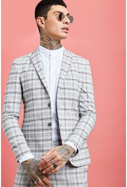 Grey Pastel Check Detail Skinny Fit Suit Jacket