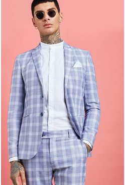Mens Blue Pale Check Skinny Fit Suit Jacket