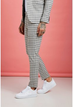 Grey Summer Check Skinny Fit Suit Pants