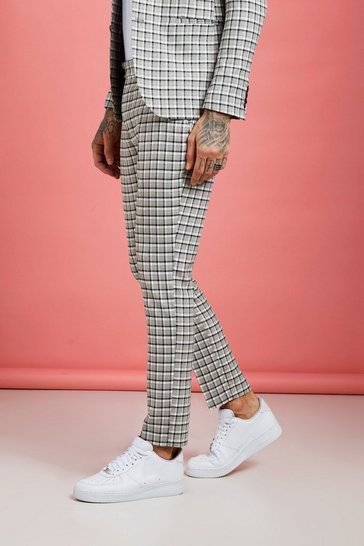Grey Summer Check Skinny Fit Suit Trouser