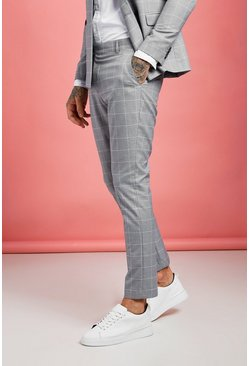 Mens Grey Jaspe Windowpane Check Tapered Pants