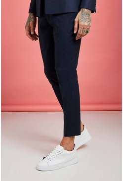 Mens Navy Plain Skinny Fit Cropped Pants
