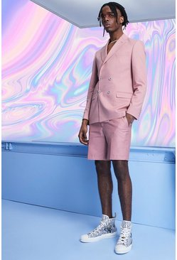 Mens Pink Plain Double Breasted Skinny Fit Suit Jacket