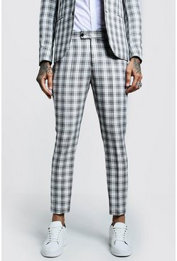 Mens Ecru Check Skinny Fit Cropped Suit Pants