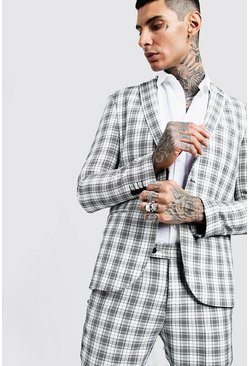 Mens Ecru Check Skinny Fit Suit Jacket
