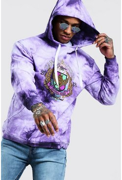 Mens Purple Loose Fit Tie Dye Hoodie With Embroidery