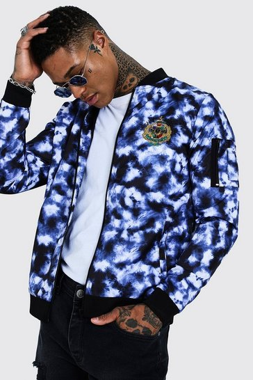Mens Purple Tie Dye Bomber Jacket With  Back Embroidery