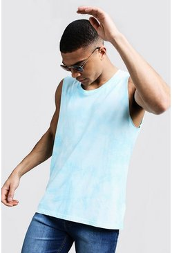 Mens Blue Raw Edge Tie Dye Tank