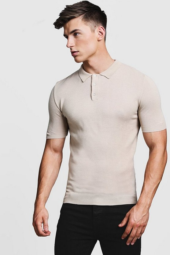 Mens Stone Regular Short Sleeve Knitted Polo