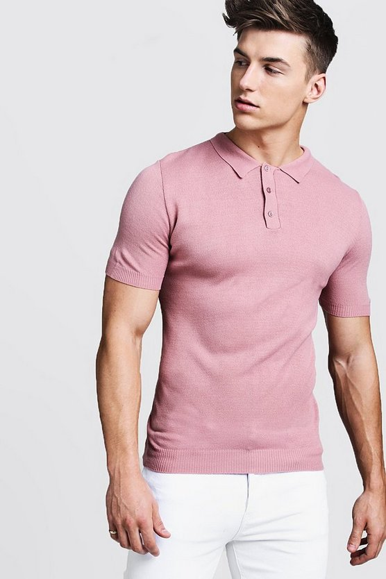 Mens Dusky pink Regular Short Sleeve Knitted Polo