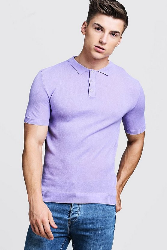Mens Lilac Regular Short Sleeve Knitted Polo