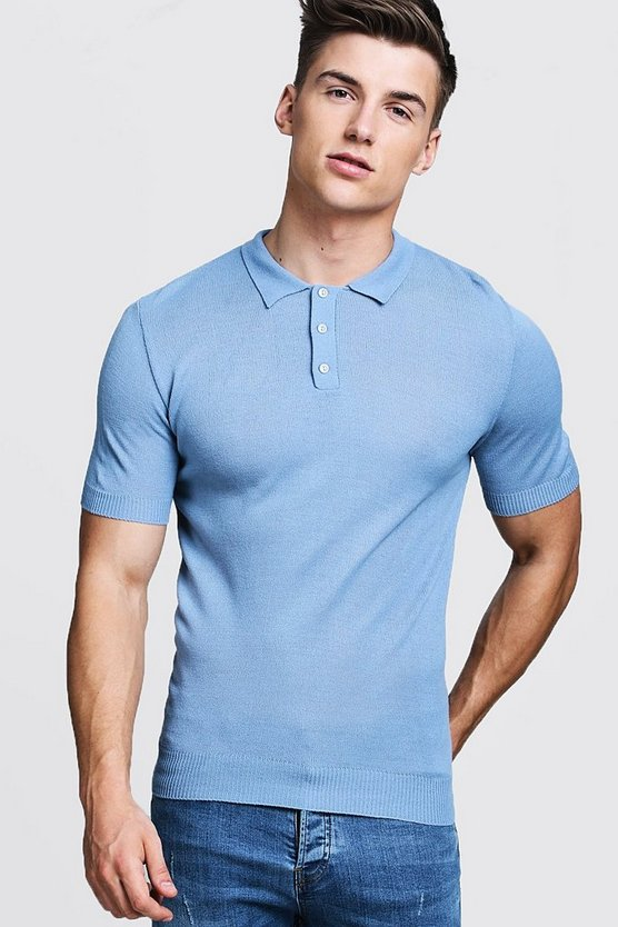 Mens Powder blue Regular Short Sleeve Knitted Polo