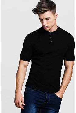 Herr Black Regular Short Sleeve Knitted Polo