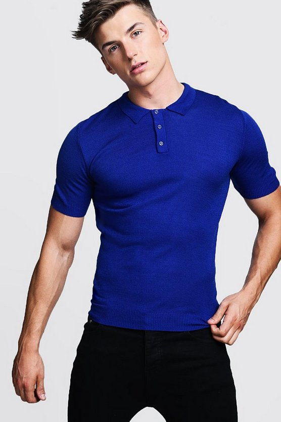 Cobalt Regular Short Sleeve Knitted Polo