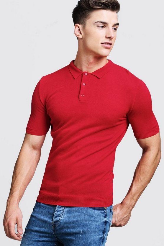 Mens Red Regular Short Sleeve Knitted Polo