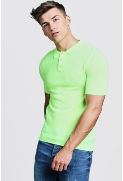 Mens Neon-yellow Regular Short Sleeve Knitted Polo