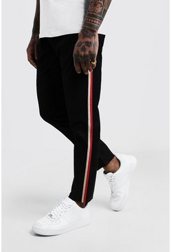 Mens Black Side Panel Detail Smart Jogger Trouser
