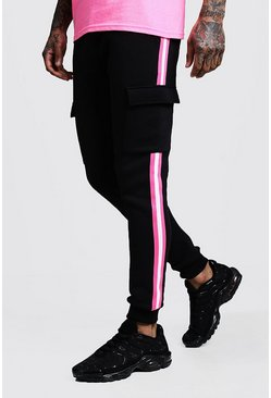 Mens Neon-pink Neon Tape Detail Cargo Skinny Fit Jogger