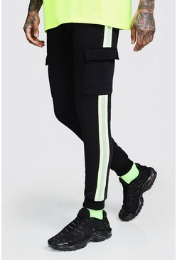 Mens Neon-yellow Neon Tape Detail Skinny Fit Jogger