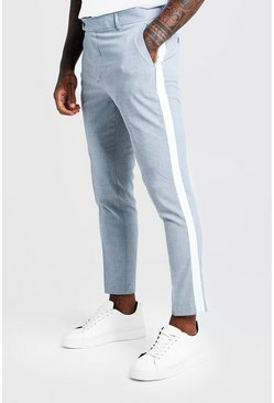 Mens Grey Tape Detail Smart Cropped Skinny Trouser