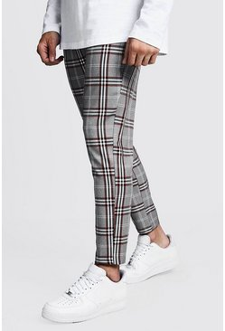 Mens Orange Check Cropped Smart Jogger Trouser