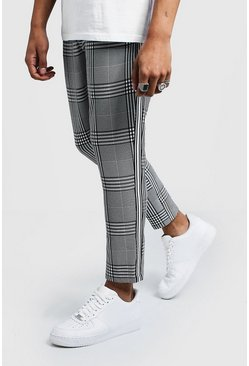 Mens Black Check Cropped Smart Jogger With Sports Tape
