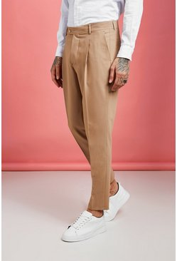Mens Sand Pleat Front Plain Smart Pants