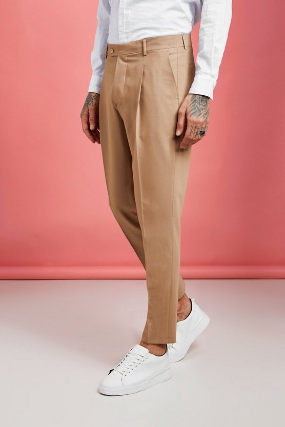 Mens Sand Pleat Front Plain Smart Trouser